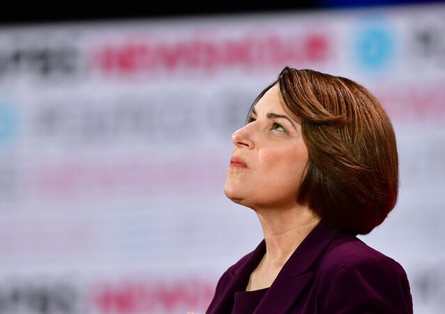 In this file photo taken on December 19, 2019 Democratic presidential hopeful Democratic presidential hopeful Minnesota Senator Amy Klobuchar looks on ahead of the sixth Democratic primary debate of the 2020 presidential campaign season co-hosted by PBS NewsHour & Politico at Loyola Marymount University in Los Angeles, California.