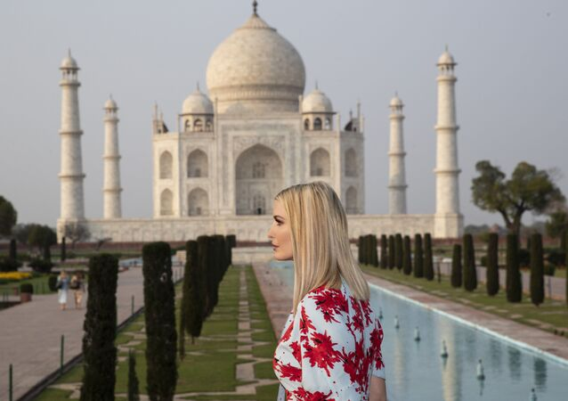 Ivanka Trump, the daughter and assistant to President Donald Trump, tours the Taj Mahal, Monday, Feb. 24, 2020, in Agra, India.