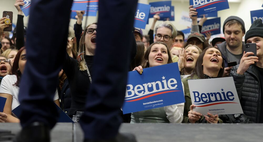 Democratic 2020 U.S. presidential candidate Senator Bernie Sanders rallies with supporters in an overflow room aside from the main event in St. Paul, Minnesota, U.S. March 2, 2020.