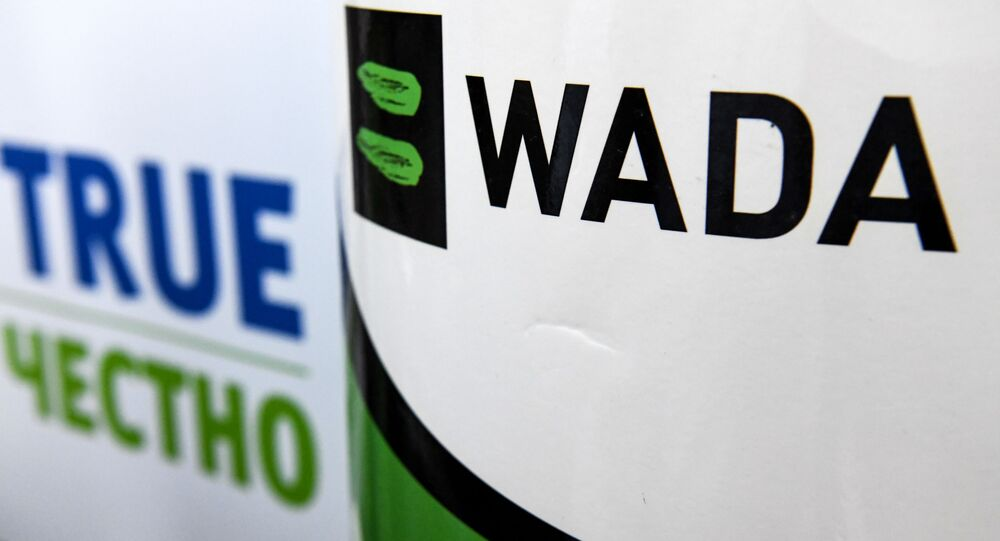 The World Anti-Doping Agency or WADA logo is pictured at the Russkaya Zima (Russian Winter) Athletics competition in Moscow on February 9, 2020.