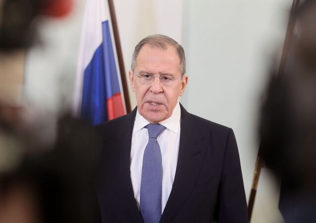 Russian Foreign Minister Sergey Lavrov speaks with press after a meeting with Finnish Foreign Minister Pekka Haavisto in Helsinki, Finland, March 2020
