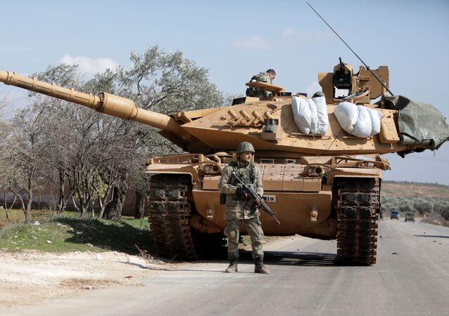 A Turkish soldier  east of Idlib city in northwestern Syria