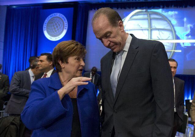 IMF Managing Director Kristalina Georgieva and World Bank President David Malpass at the World Bank/IMF Annual Meetings in Washington