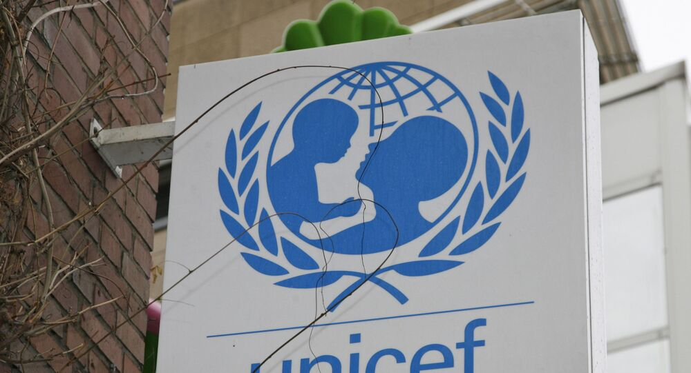 The UNICEF logo is seen in the German headquarter in Cologne, Germany