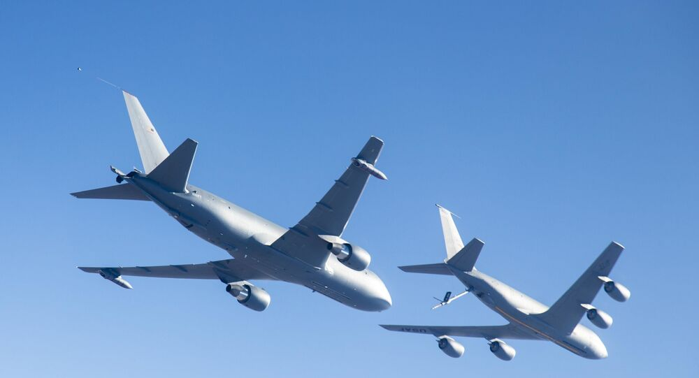 Boeing KC-46A over Edwards Air Force Base, California