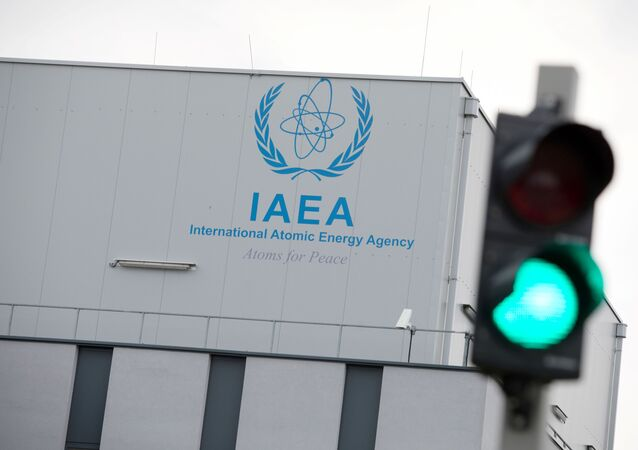 Logo of the International Atomic Energy Agency (IAEA) on the building of the IAEA laboratories in Seibersdorf, near Vienna