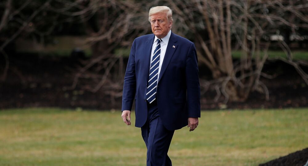 U.S. President Donald Trump departs to attend a briefing at the National Institutes of Health (NIH) Vaccine Research Center from the South Lawn of the White House in Washington, U.S., March 3, 2020