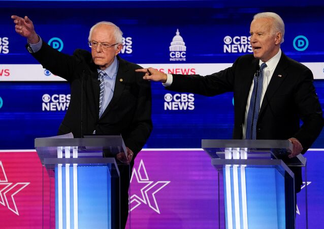 Democratic 2020 U.S. presidential candidates Senator Bernie Sanders and former Vice President Joe Biden have an exchange in the tenth Democratic 2020 presidential debate at the Gaillard Center in Charleston, South Carolina, U.S. February 25, 2020.