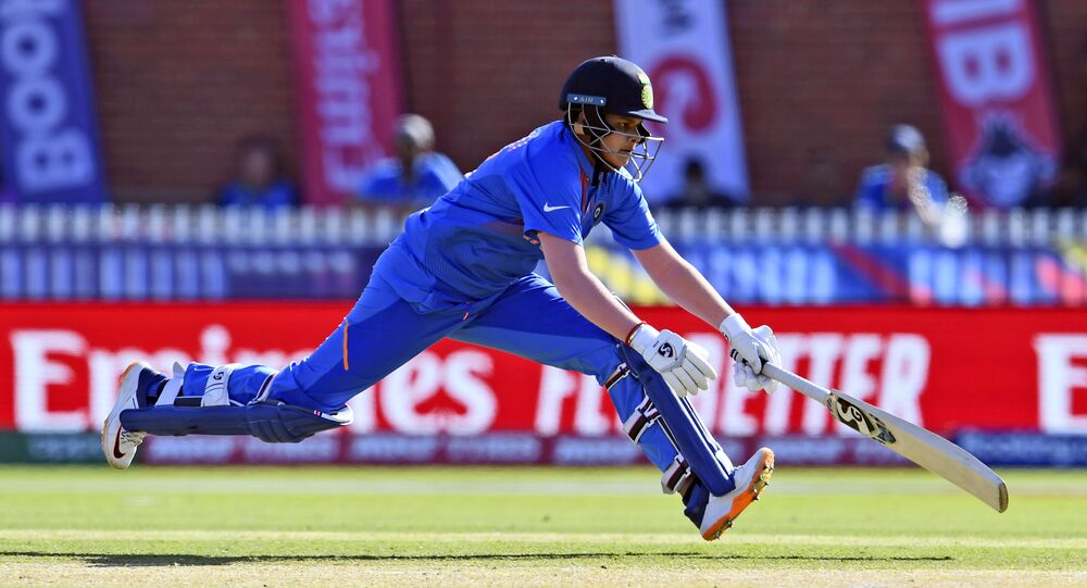 India's Shafali Verma takes a quick single from the Sri Lankan bowling during their Twenty20 women's World Cup cricket match in Melbourne on February 29, 2020