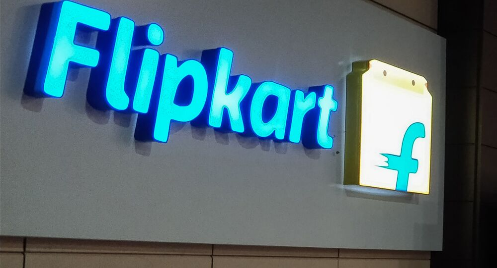 This photo taken on May 8, 2018 shows the logo of e-commerce company Flipkart at its headquarters in Bangalore