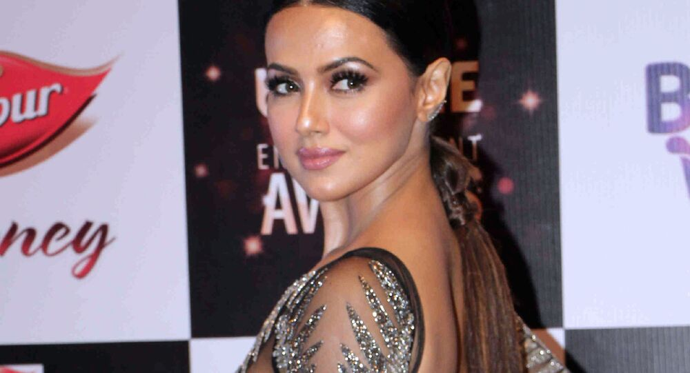 In this photograph taken on July 29, 2017, Indian Bollywood actress Sana Khan attends the BIG ZEE Entertainment Awards 2017 ceremony in Mumbai