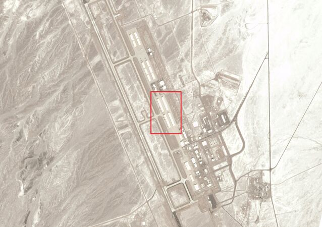 Mysterious crafts peeking out of hangars at the Tonopah Test Range Airport in Nevada on March 2, 2020, around noon.