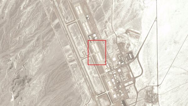 Mysterious crafts peeking out of hangars at the Tonopah Test Range Airport in Nevada on March 2, 2020, around noon.  - Sputnik International
