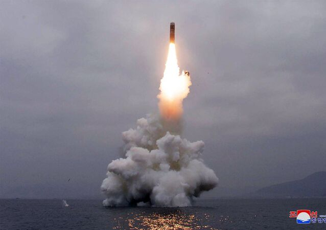 Test-firing of the new-type SLBM Pukguksong-3 in the waters off Wonsan Bay of the East Sea of Korea