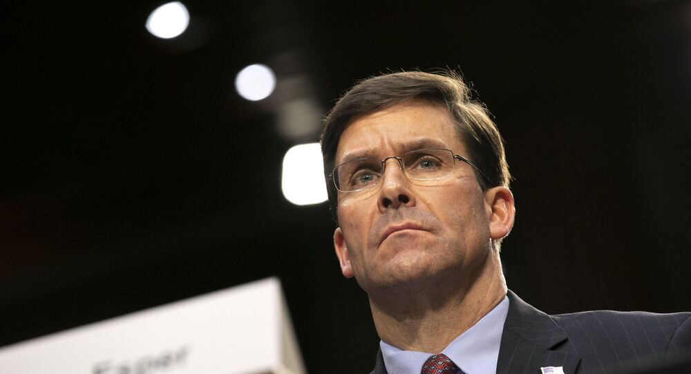 Defence Secretary Mark Esper on Capitol Hill in Washington
