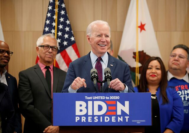 Democratic US presidential candidate and former Vice President Joe Biden in Los Angeles, California