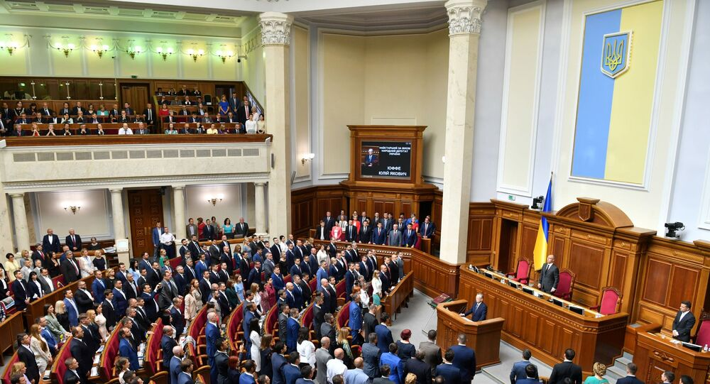 Lawmakers during the solemn opening and first sitting of the new parliament, the Verkhovna Rada, in Kiev