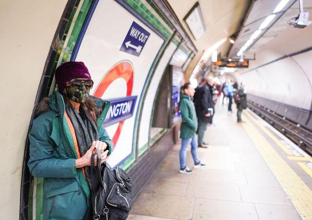 Woman Wearing Face Mask In London