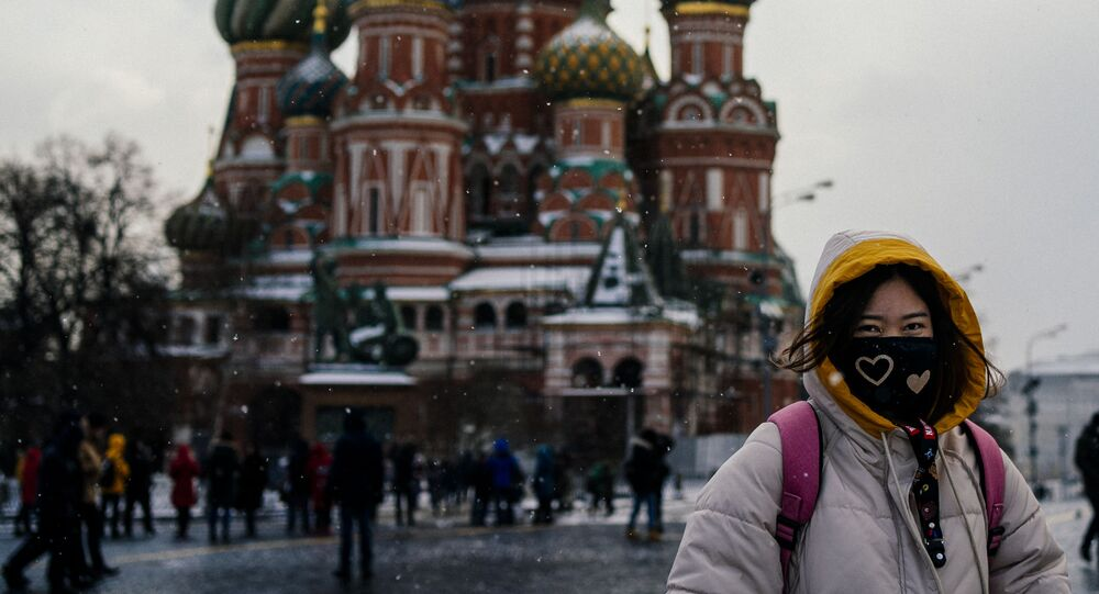 Tourist Wearing Face Mask in Moscow
