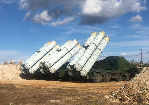 S-400 Triumph anti-aircraft missile system seen during the Vostok-2018 military drills