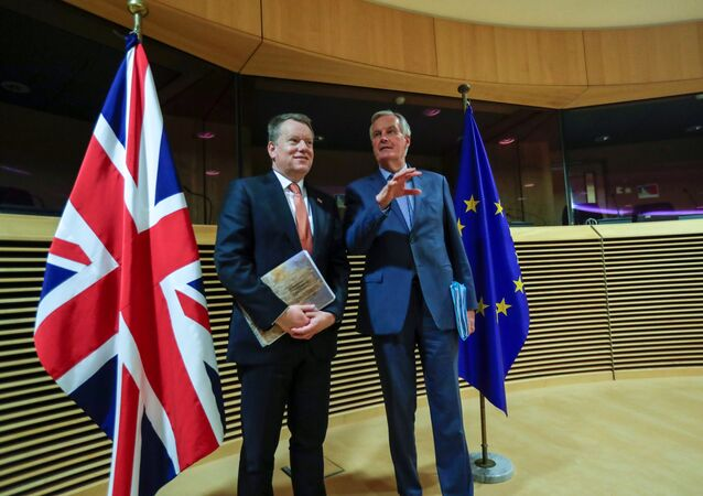European Union chief Brexit negotiator Michel Barnier and British Prime Minister's Europe adviser David Frost 5 are seen at start of the first round of post -Brexit trade deal talks between the EU and the United Kingdom, in Brussels, Belgium March 2, 2020
