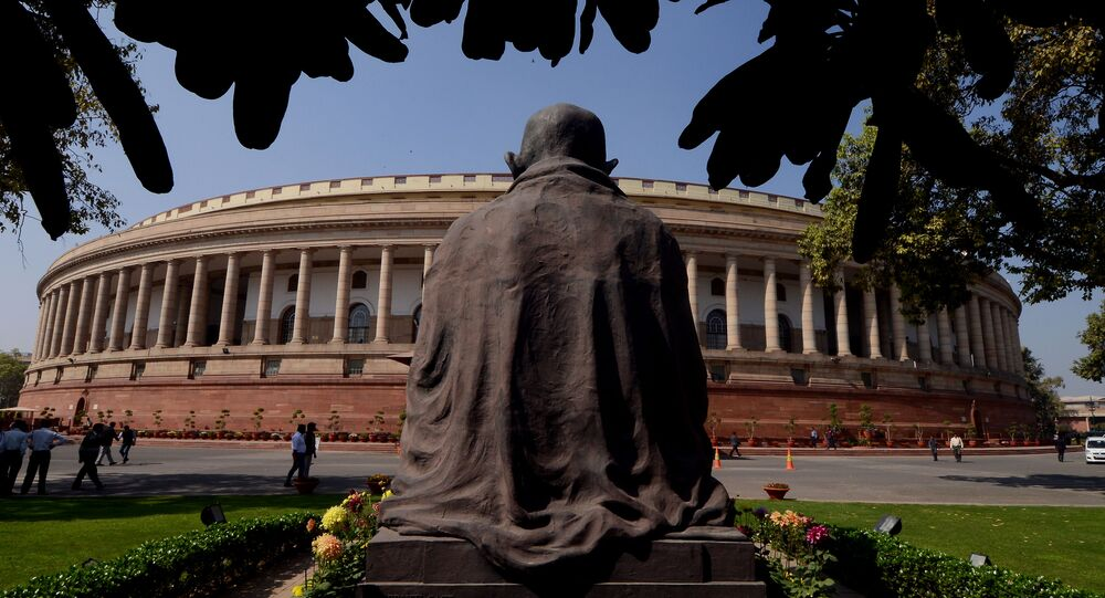A general view of the Indian Parliament building during the opening of the budget session in New Delhi on February 23, 2016. The session began with the general budget to be tabled on February 29