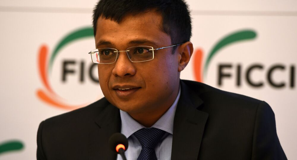 Sachin Bansal, co-founder & Executive Chairman, Flipkart speaks during a press conference on 'Model GST Law (TCS) for the e Commerce Sector' in New Delhi on February 9, 201