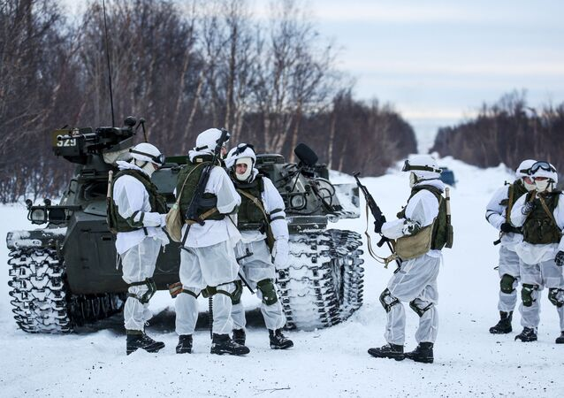 Servicemen of Separate Motorized Infantry Brigade of Russia's Nothern Fleet