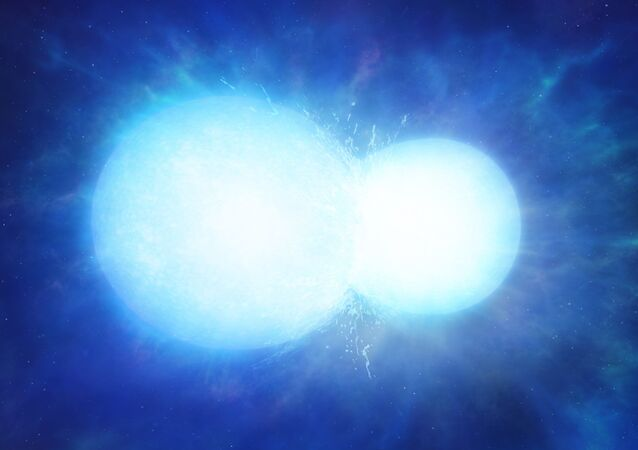 Artist's impression of two white dwarfs merging