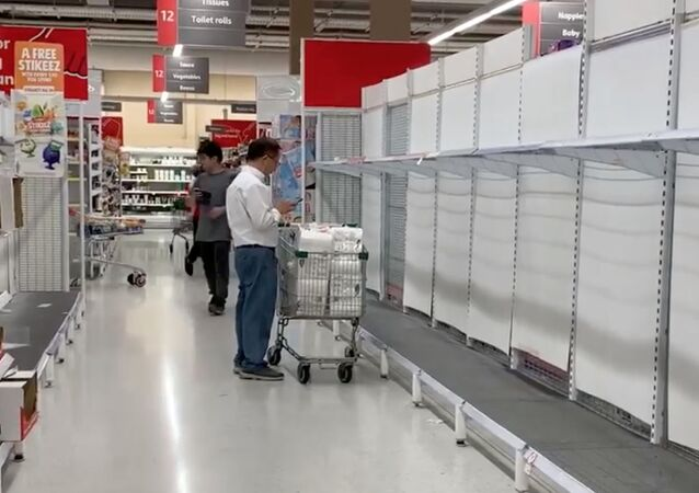 Empty shelves are pictured in a supermarket that is running out of toilet paper and pasta amid coronavirus fears in Sydney, Australia March 3, 2020 in this still image obtained from a social media video