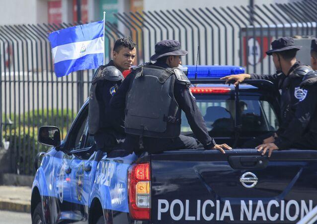 Nicaraguan National Police in downtown Managua, Nicaragua