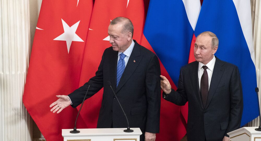 Russian President Vladimir Putin and Turkish President Recep Tayyip Erdogan in the Kremlin, in Moscow