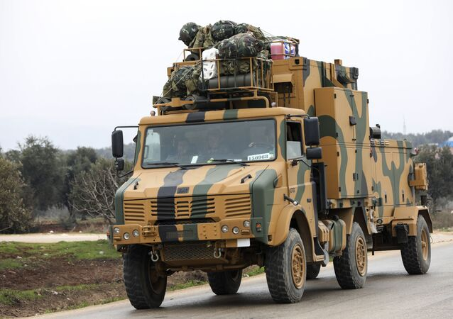 A Turkish military convoy in the east of Idlib, Syria