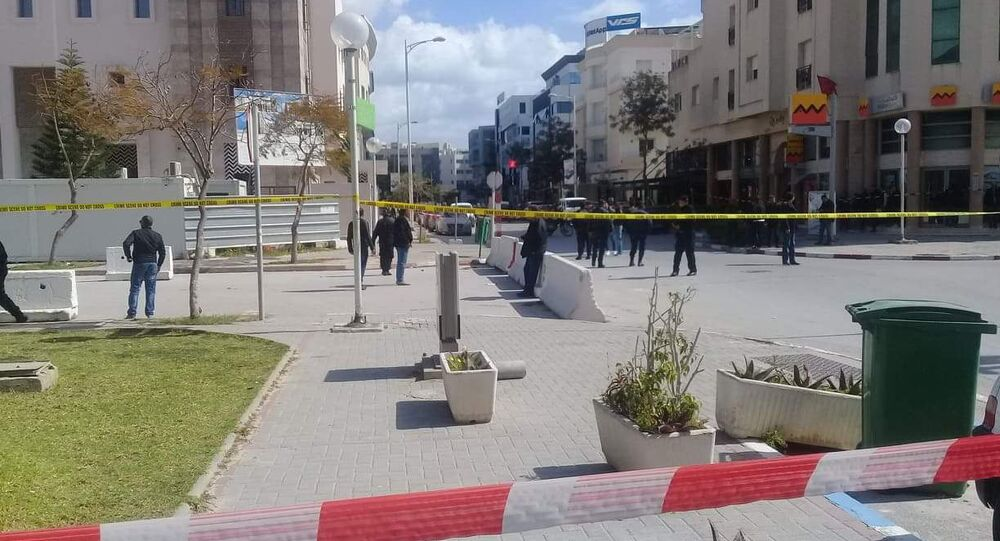 The site of a suicide attack near the U.S. embassy in Tunis, Tunisia March 6, 2020