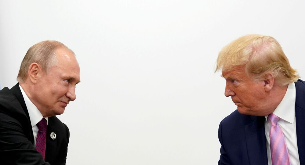 U.S. President Donald Trump and Russian President Vladimir Putin hold a bilateral meeting at the G20 leaders summit in Osaka, Japan June 28, 2019