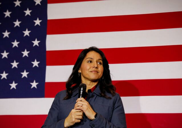 Democratic presidential candidate Rep. Tulsi Gabbard speaks during a campaign event in Lebanon, New Hampshire, U.S., February 6, 2020