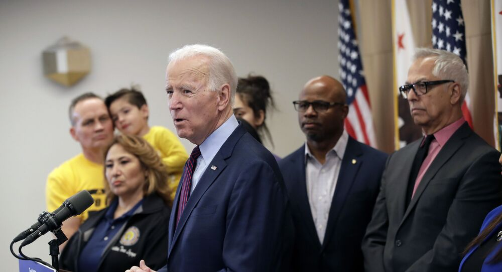 Democratic presidential candidate former Vice President Joe Biden in Los Angeles