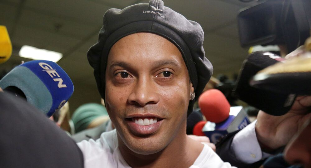 Ronaldinho leaves Paraguay's Supreme Court after testifying in Asuncion, Paraguay, March 6, 2020. REUTERS