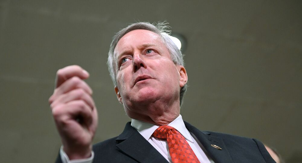 U.S. Representative Mark Meadows (R-NC) addresses reporters during a break in the fourth day of the Senate impeachment trial of U.S. President Donald Trump at the U.S. Capitol in Washington, U.S., January 24, 2020