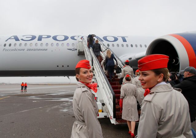First Airbus A350-900 aircraft of Russia's flagship airline Aeroflot at Sheremetyevo International Airport outside Moscow