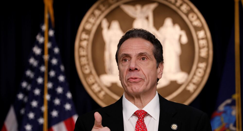 New York Governor Andrew Cuomo delivers remarks at a news conference regarding the first confirmed case of coronavirus in New York State in Manhattan borough of New York City, New York, U.S., March 2, 2020