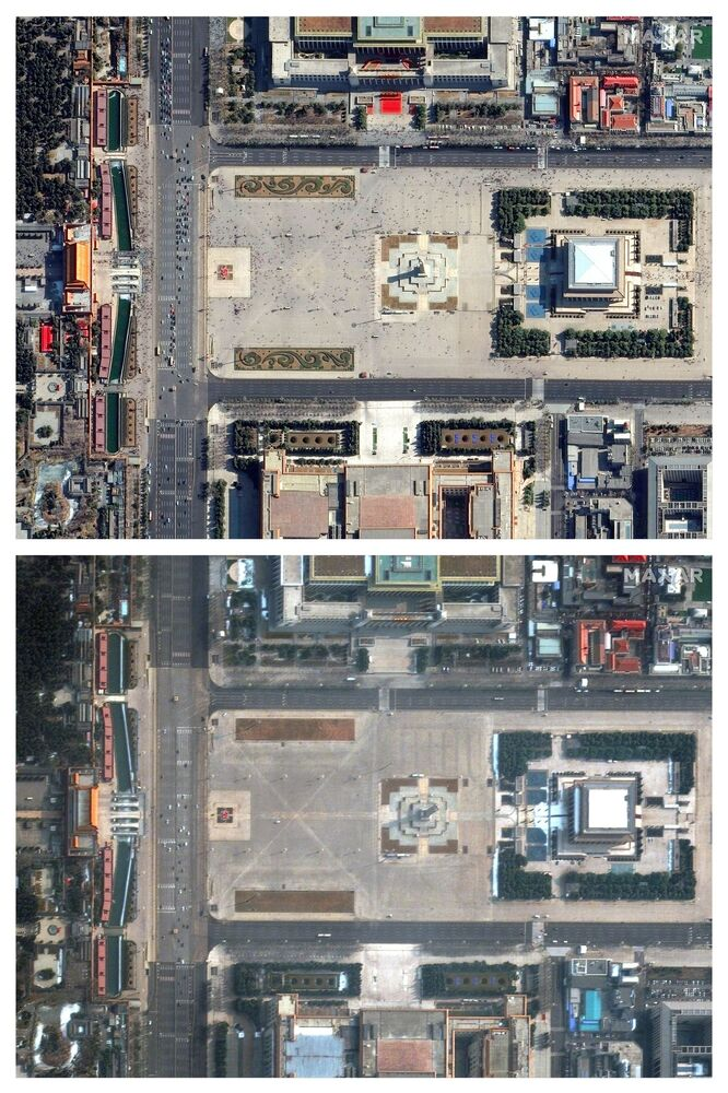 Tiananmen Square in Beijing before the coronavirus on 21 February 2019 and during the coronavirus on 11 February 2020