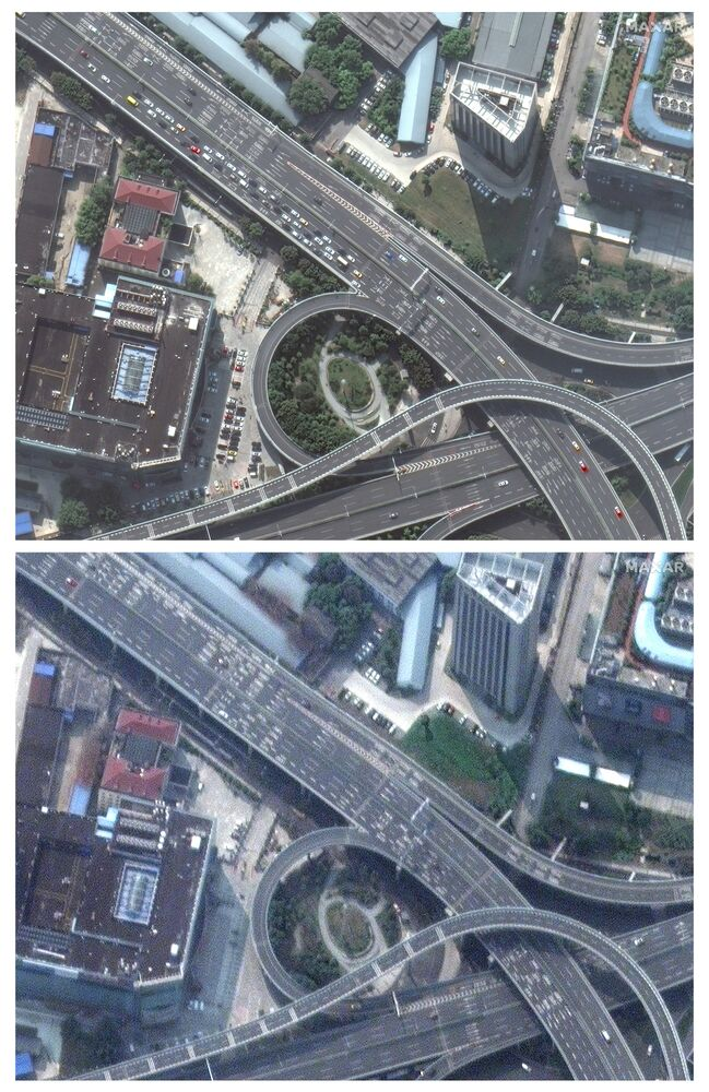 The crowded highway  in Wuhan before coronavirus, 17 October 2019 and an empty highway during the coronavirus on 25 February 2020.