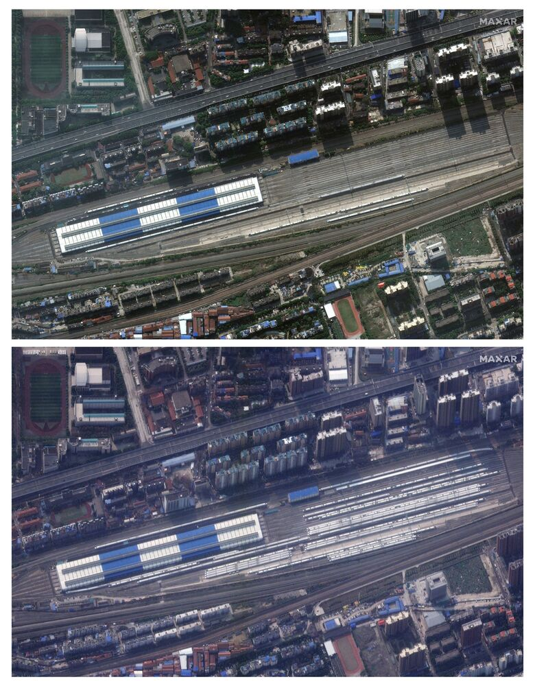 Railway station in Wuhan before the coronavirus on 17 October and during the coronavirus on 25 February 2020.