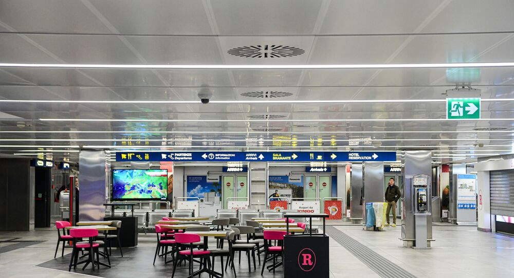 A picture taken on 8 March 2020 shows an empty room of Linate Airport in Milan, after millions of people were placed under forced quarantine in northern Italy as the government approved drastic measures in an attempt to halt the spread of the deadly coronavirus that is sweeping the globe. - On top of the forced quarantine of 15 million people in vast areas of northern Italy until 3 April the government has also closed schools, nightclubs and casinos throughout the country, according to the text of the decree published on the government website. With more than 230 fatalities, Italy has recorded the most deaths from the COVID-19 disease of any country outside China, where the outbreak began in December.