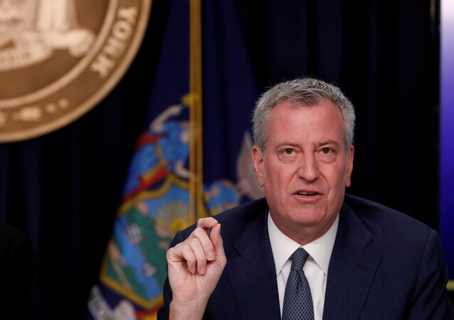 New York City Mayor Bill de Blasio is seen at a news briefing in the Manhattan borough of New York City, New York, U.S., March 2, 2020