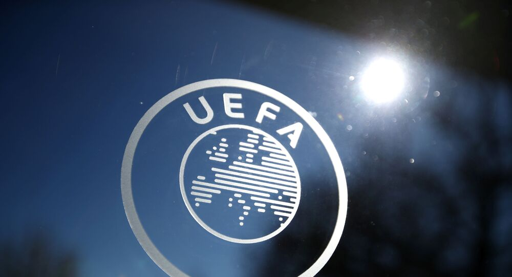 General view of the UEFA logo at UEFA Headquarters