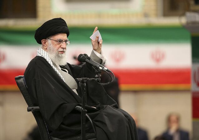 In this photo released by the official website of the office of the Iranian supreme leader, Supreme Leader Ayatollah Ali Khamenei speaks in a meeting in Tehran, Iran, Feb. 5, 2020.