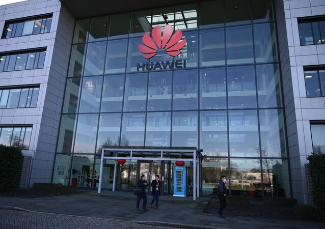 A photograph shows the logo of Chinese company Huawei at their main UK offices in Reading, west of London, on January 28, 2020