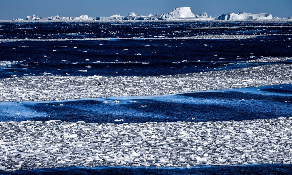 View of the Wilkins Ice Shelf from aboard the Admiral Vladimirsky en route to the Bellingshausen Antarctic Station